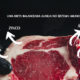 Foto de carne com fundo preto e os nutrientes da carnes escritos em branco
