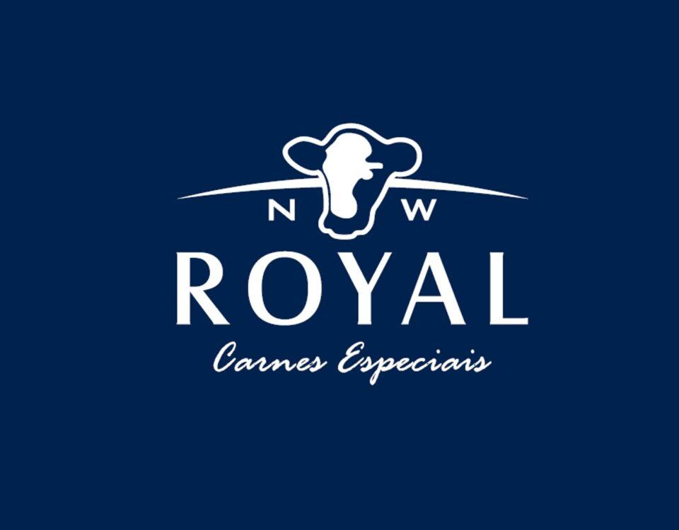 nw royal importadora e distribuidora carnes especiais logo azul marinho com branco